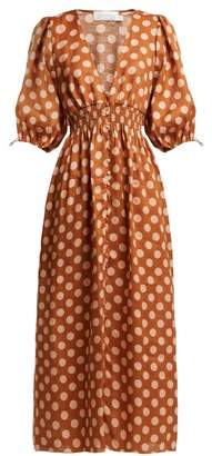 Zimmermann Primrose Shirred Polka Dot Linen Dress - Womens - Tan Print