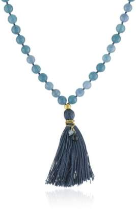 """Satya Jewelry Many Truths Angelite Mala"""" 24k Yellow Gold-Plated Necklace"""