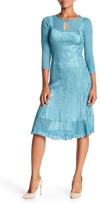 Komarov 3/4 Sleeve Keyhole Puckered Dress
