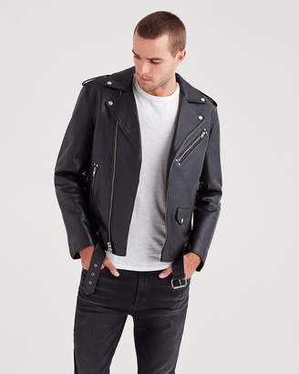 7 For All Mankind Leather Biker Jacket in Black