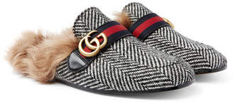 Gucci Princetown Shearling-Lined Herringbone Wool Backless Loafers