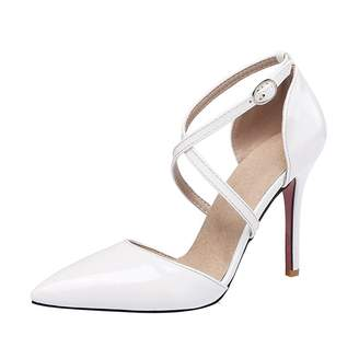 ef3dd456f at Amazon Canada · Agodor Womens High Heels Ankle Strap Pumps Patent  Leather Stiletto Elegant Pointed Toe Summer Shoes