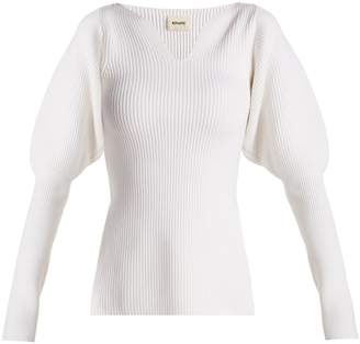 KHAITE Selena puff-sleeve ribbed-knit wool sweater
