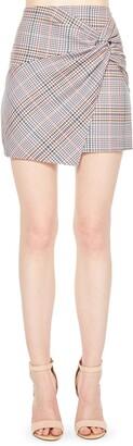 Parker Montaigne Plaid Twist Front Miniskirt