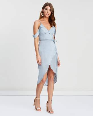 Missguided Satin Frill Midi Dress
