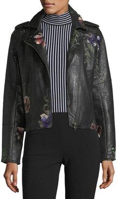 Brandon Thomas Embroidered Vegan-Leather Moto Jacket $99 thestylecure.com