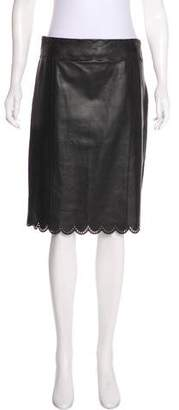 Valentino Leather Laser Cut Skirt