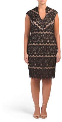 Plus Deep V-neck Lace Dress
