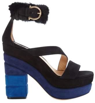 Salvatore Ferragamo Black Suede Sandals
