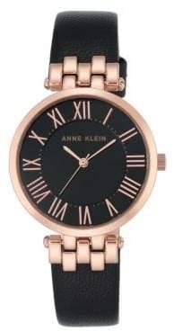 Anne Klein Analog AK-2618RGIV Black Leather Strap Watch