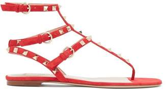 Valentino Rockstud Flat Suede Sandals - Womens - Red