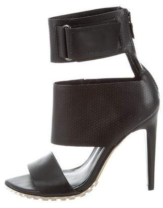 Tibi Perforated Leather Ankle Strap Sandals
