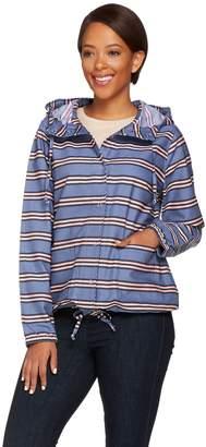 Isaac Mizrahi Live! TRUE DENIM Striped Anorak Jacket