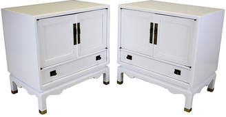 One Kings Lane Vintage White Lacquered Nightstands - Set of 2 - Vintage Bella Home