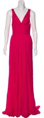 Elie Saab Pleated Silk Dress