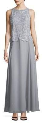 J Kara Petite Embellished Floor-Length Dress