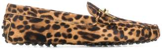 Tod's t-bar leopard loafers
