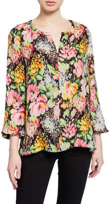 Kobi Halperin Laura Floral-Print Split-Neck Silk Blouse