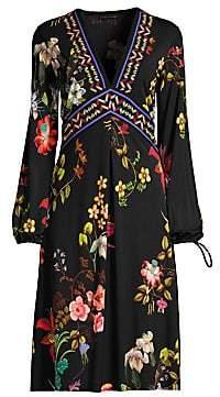 Etro Women's V-Neck Garden Floral Jersey Dress
