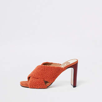 River Island Red faux fur cross strap mule sandals