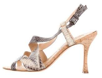 Manolo Blahnik Snakeskin Mid-Heel Sandal Grey Snakeskin Mid-Heel Sandal