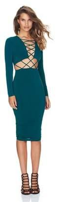 Hillda Sexy Clubwear Dress Cross Straps Front Long Sleeve Bodycon Bandage Dress Green L