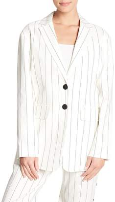 Tibi Linen Blend Stripe Button Back Blazer