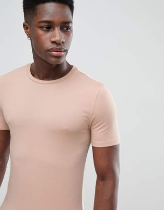 Asos Design Longline Muscle Fit T-Shirt With Crew Neck In Beige