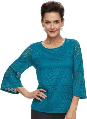 Dana Buchman Women's Lace Bell-Sleeve Top