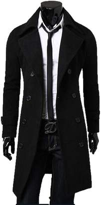 FCYOSO Men's Trench Coat Winter Long Jacket Double Breasted Overcoat US,L