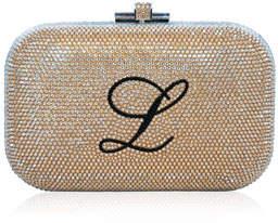 Judith Leiber Couture Monogram Crystal Slide-Lock Clutch Bag, Champagne