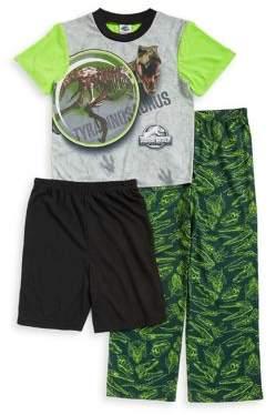 AME Sleepwear Little Boy's and Boy's Three-Piece Jurassic-Print Short-Sleeve Pajamas