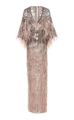 Pamella Roland Crystal Caped Ostrich Feather Sequined Gown