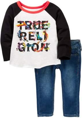 True Religion Raglan & Knit Denim Set (Baby Girls)
