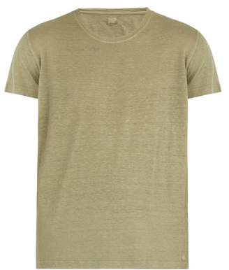 120% Lino Short Sleeved Linen T Shirt - Mens - Khaki