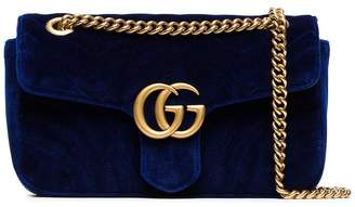 Gucci blue Marmont small quilted velvet shoulder bag