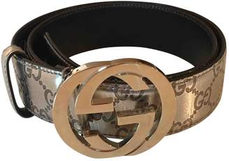df35321e9 Gucci Interlocking Buckle Gold Leather Belts