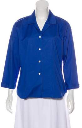 Neiman Marcus Notch-Collar Button-Up Top w/ Tags