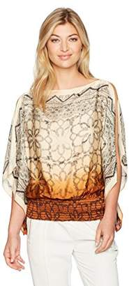 Max Studio MAXSTUDIO Women's Cascade Printed Blouse With Wing Sleeves