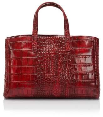 Lisa Minardi Red Croc Embossed Leather Handbag