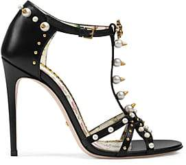 Gucci Women's Regina Leather T-Strap Sandals - Black