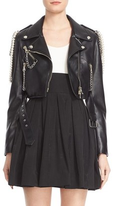 Women's Moschino Chain & Faux Pearl Embellished Faux Leather Jacket $2,195 thestylecure.com