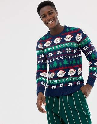 Pull&Bear Holidays Santa sweater in navy