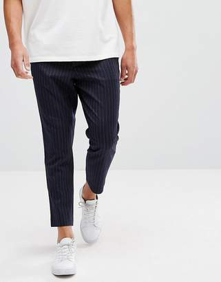 Asos Design Tapered Pants With Elasticated Back In Navy Pin Stripe
