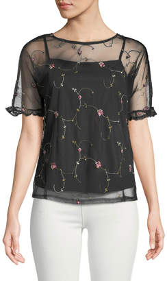 Couture Casual Embroidered Mesh Illusion Tee