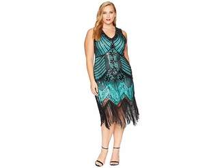 Unique Vintage Plus Size 1920s Deco Veronique Fringe Flapper Dress