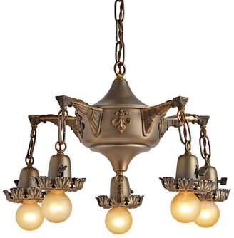 Rejuvenation Five-Light Revival-Style Chandelier w/ Fleur de Lys Motif