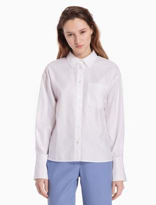 Calvin Klein oxford split cuff drop shoulder shirt