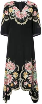Vilshenko floral print asymmetric hem dress