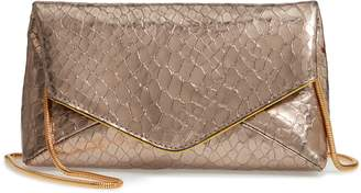Dries Van Noten Snake Embossed Leather Envelope Clutch